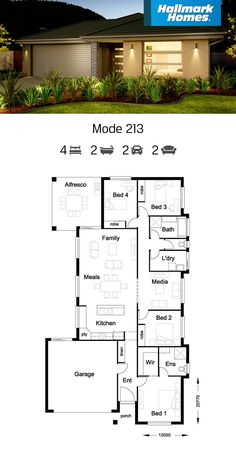 The Mode 213 is such a liveable home. The large open plan living areas that stem from the kitchen include a media room, family/meals and outdoor alfresco areas. The separation of the master suite from the rest of the house creates a peaceful retreat. My House Plans, House Layout Plans, Bungalow House Plans, Craftsman House Plans, Modern House Plans, House Layouts, Small House Plans, Modern House Design, House Floor Plans