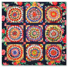 nifty quilts: Pine Burr Quilt!  Must weigh a ton!  Exciting colors.