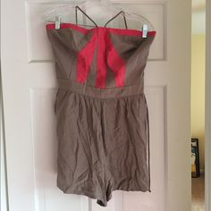 BCBG romper Great romper with size zipper. Size 10. Can be worn with or without the neck tie. Great condition! BCBG Pants Jumpsuits & Rompers