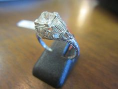 Platinum Diamond Art Deco Ring!  Gorgeous!