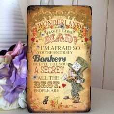 "Alice in Wonderland Mad Hatter Hanging Wooden Plaque Decoration MH Bonkers ""Welcome to Wonderland"""