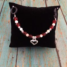 Women's Beaded Stethoscope Charm Red and White Beads with Silver Heart by DungleBees on Etsy