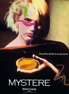 Mystere de Rochas advertisement, 1983. a floral chypre with a woody-cedary basenote.