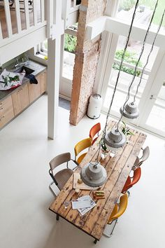Mix+match chairs and rustic dining table (home, decor, interior design, kitchen) Decor, Mix Match Chairs, Dining, House Interior, Home Deco, Sweet Home, Home Kitchens, Interior Design, Home And Living