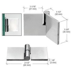 """CRL Polished Stainless Right Hand UV Bond Glass-to-Glass Hinge by CR Laurence by CR Laurence. $24.47. Ideal for Smaller 'All-Glass' Cabinets These free-swinging polished stainless Glass-to-Glass Hinges are designed for smaller 'all-glass' cabinets with inset doors. The maximum recommended glass thickness is 1/4"""" (6 mm). Maximum weight per pair of Hinges is 22 lbs(10 kg).Important NotesDue to very precise machining and very tight tolerance, if not perfectly alig..."""