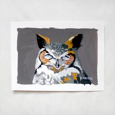 Owl Painting  Great Horned Owl by ElizabethMayville on Etsy