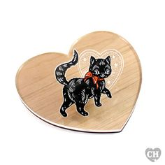 Inspired by the superstition that if you see a black cat walking away from you, it is stealing your luck. Whereas a black cat walking towards you is said to be bringing good luck.   This brooch features a tattoo-style illustration of a cheeky black cat, donned in its finest red ribbon and strutting away with your luck.  See below for more details.  Shop the No Luck, Bad Luck Collection.