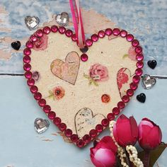 Valentine Heart with Hearts and Roses, sparkly rhinestones, country cottage chic, pink sparkle bling, Valentine's gift, window decoration #etsy #homedecor #pink #wedding #valentinesday #heartsandroses https://etsy.me/2E2VFnL