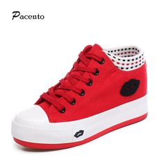 2016 PACENTO New Red Lip Designer Women Shoes Female Casual Wedge Platform Shoe Women's High Top Shoes Ladies Zapatos Mujer