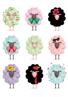 Illustration by Marie Desbons Eid Crafts, Diy And Crafts, Sheep Illustration, Eid Stickers, Sheep Crafts, Sheep Art, Motifs Animal, Sheep And Lamb, Happy Eid