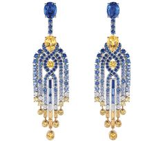 Chaumet Lumières d'Eau earrings in white and yellow gold, set with diamonds and blue and yellow sapphires