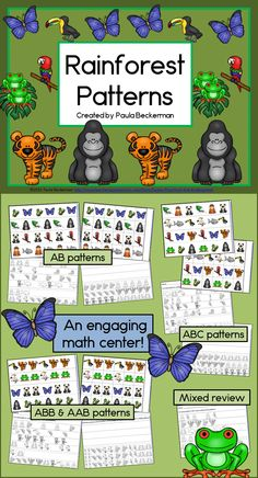 Your students will love making patterns with gorillas, tree frogs, anacondas, toucans and other rain forest animals! Perfect for units on the rain forest, environment, or Earth Day, Rainforest Patterns is an easy to prepare math center that's super fun for students! TpT $