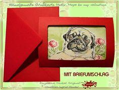 Einzelsück handgemalter Liebesgruß Mops Pug Grußkarte  Ein Designerstück von wandklex Ingrid Heuser im kleinen Klexshop auf DaWanda unter http://de.dawanda.com/shop/wandklex  Persönliche Grußkarten handgemalt (auch nach Foto) Postkarte mal anders;  einzeln handgemalte Karten mit Ihrem individuellen Motiv (auch mit Valentinstagsgruß, Spruch, Blümchen, Herzen, Weihnachtsmützen ;-) )  Jede Karte ein Unikat, alle Tierrassen+ natürlich auch Menschen möglich, auch Kleinserien.
