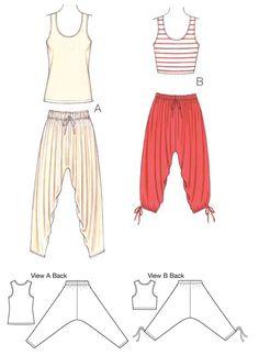K3701 Misses' Pants & Top - harem pants