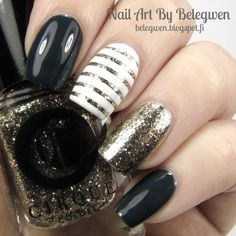 Nail Art By Belegwen: Essence Got My List Green, Cirque Mirror Mirror and Gina Tricot White