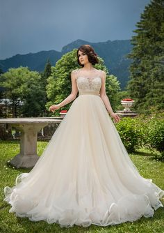 >> Click to Buy << Glamorous 2016 A-Line Wedding Dresses Sleeveless Scoop Tulle Beautiful Open Back Simple Floor Length Understone Court Trains #Affiliate