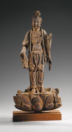 Statuette de Bodhisattva en bois Début de la dynastie Ming