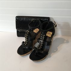 """-Dolce Vita Wedges Black Wedges with gold and black accents - excellent condition - 4"""" heel Dolce Vita Shoes Wedges"""
