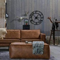 BePureHome Poef Rodeo cognac bruin leer 43x120x60cm