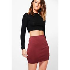 Boohoo Annia Scuba Basic Mini Skirt ($12) ❤ liked on Polyvore featuring skirts, mini skirts, pleated skirt, midi skirt, red skirt, short mini skirts and red midi skirt