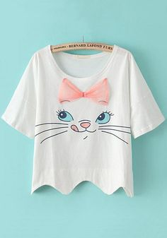 White Cat Print Bow Loose T-Shirt