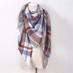 Red and Light Blue Blanket Scarf. Echarpe PlaidCachemireChâle  PashminaÉcharpe ... 0a9eccee5fa