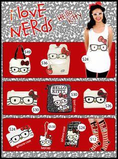 Hello kitty camera case, hello kitty earrings, hello kitty iphone case, Hello Kitty Nerd, hello kitty wallet, nerd, nerdy