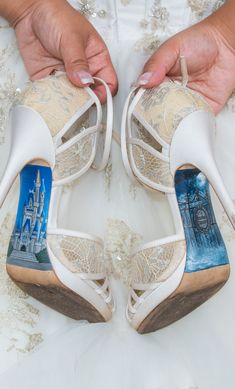A Walt Disney World bride's Cinderella Castle and Haunted Mansion custom heels