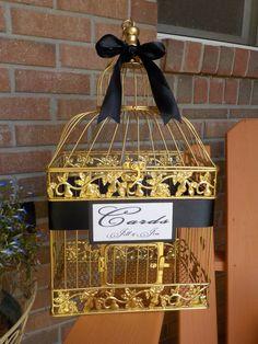 Bird Cage Wedding Card Holder Gold Birdcage Money by Twenty3Design