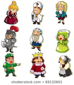 Vector Clipart of cartoon medieval people icon - Search .