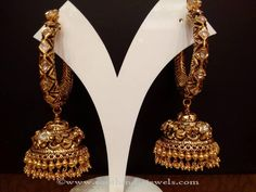 Beautiful gold antique jhumka studded with uncut diamonds. For inquiries please contact the seller below. Seller Name : NAJ Jewellery Address : 957, Jewel J