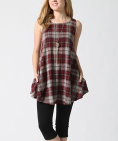Burgundy Split Layering Cover-Up Top & Plaid Sleeveless Tunic