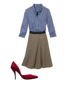 Find your most flattering skirt.  A flowy skirt with a defined waist will emphasize your trim midsection and balance out your curvy lower half.
