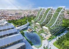 Designed by Vincent Callebaut Architectures. Vincent Callebaut Architectures has released plans for the development of a radical eco-neighborhood at Tour & Taxis, Brussels, Belgium. Architecture Durable, Green Architecture, Futuristic Architecture, Sustainable Architecture, Architecture Design, Sustainable City, Pavilion Architecture, Residential Architecture, Contemporary Architecture