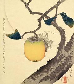 Katsushika Hokusai - Moon, Persimmon and Grasshopper, 1807 (colour woodcut)