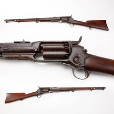 "Colt M1855 Revolving Rifle- Colt's M1855 revolving carbine was likely not well received, once soldiers learned the cylinder chambers had a habit of erupting into multiple discharges, usually when one's support hand was in the ""danger zone"" ahead of the breech. But the nearly 4,500 carbines manufactured from 1856-64, in .36, .44 and .56 caliber variants, did offer repeating capability in a time when the single shot musket was standard military issue. NRA Museum in Fairfax, VA."