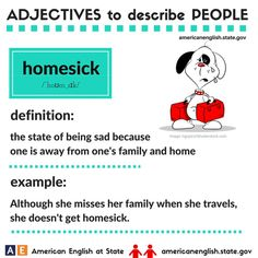 Adjectives to describe people: homesick Good Vocabulary Words, Vocabulary Practice, Vocabulary Cards, Learn English Words, English Phrases, English Lessons, English Language Learning, Learn A New Language, Teaching English