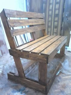 #Bench, #Kitchen, #Outdoor To make this bench I used two pallets , first of all I sanded then cut to the extent necessary to connect them. I used screws for almost all the bench. The rear bench legs were cut with 15 degrees angle to get a slight slope to the back. I then u