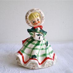 lefton vintage christmas figurines | Vintage Christmas, Lefton, Girl, Figurine, Holly, Snow, Planter, 1950s