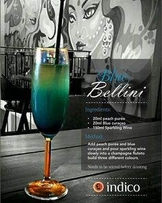 Blue Bellini Cocktail With Recipe