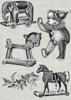 Vintage Christmas Toys Clipart Graphics Collage