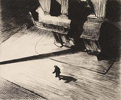 Night Shadows : Edward Hopper [Etching] : C1921 Archival Reprint Company