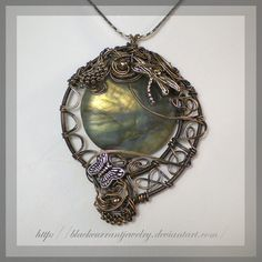 Forest Twilight by blackcurrantjewelry etsy Labradorite bead, antiqued silver plated wire, charms and findings