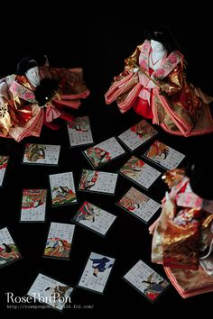 Japanese Hina dolls and Karuta cards