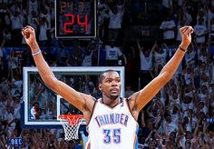 OKC Thunder defeat San Antonio Spurs 4-2 in 2012 NBA Western Conference Finals to advance to NBA Finals for first time since franchise moved from Seattle to OKC.  Durant took over in Game 6 to clinch the series.