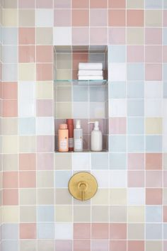 Joy Cho of Oh Joy! Breaks Down the Design of Her Glossy Showers Undermount Bathroom Sink, Lavatory Faucet, Pastel Bathroom, Bathroom Vintage, Muebles Shabby Chic, Fireclay Tile, Ideas Hogar, Glass Shower, Studio Mcgee