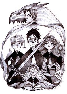 Harry Potter e la camera dei segreti, illustrazione di disegno matita originale
