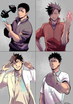 Daichi, Kuroo, Oikawa, Iwaizumi