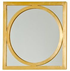 Ovation Hollywood Regency Gold Square Circle Wall Mirror. #kathykuohome