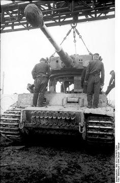 Repairing a Tiger I heavy tank, Russia, Jan-Feb 1944.